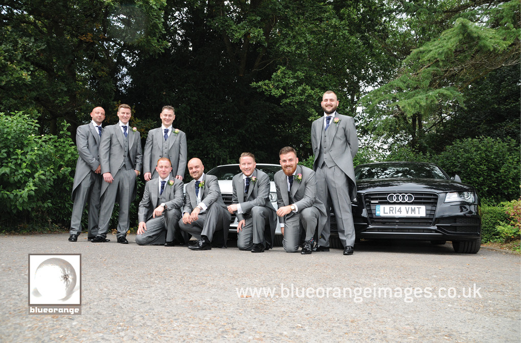 bridegroom, best men, ushers and Audis before the wedding