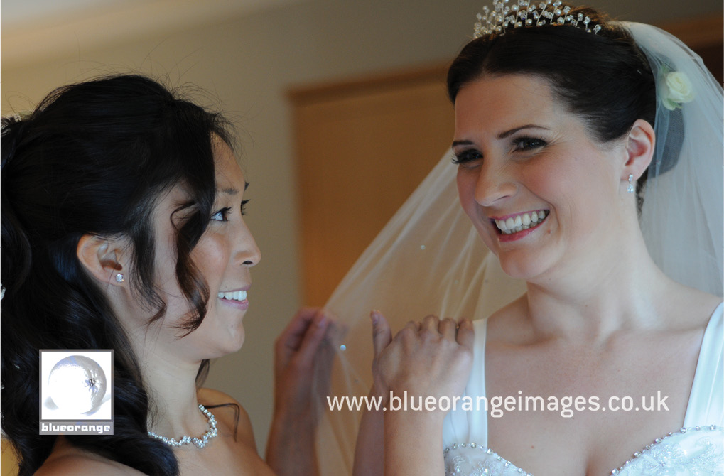 Chrissie & Jon's wedding photos at Hunton Park, Watford – getting ready with the bridesmaid