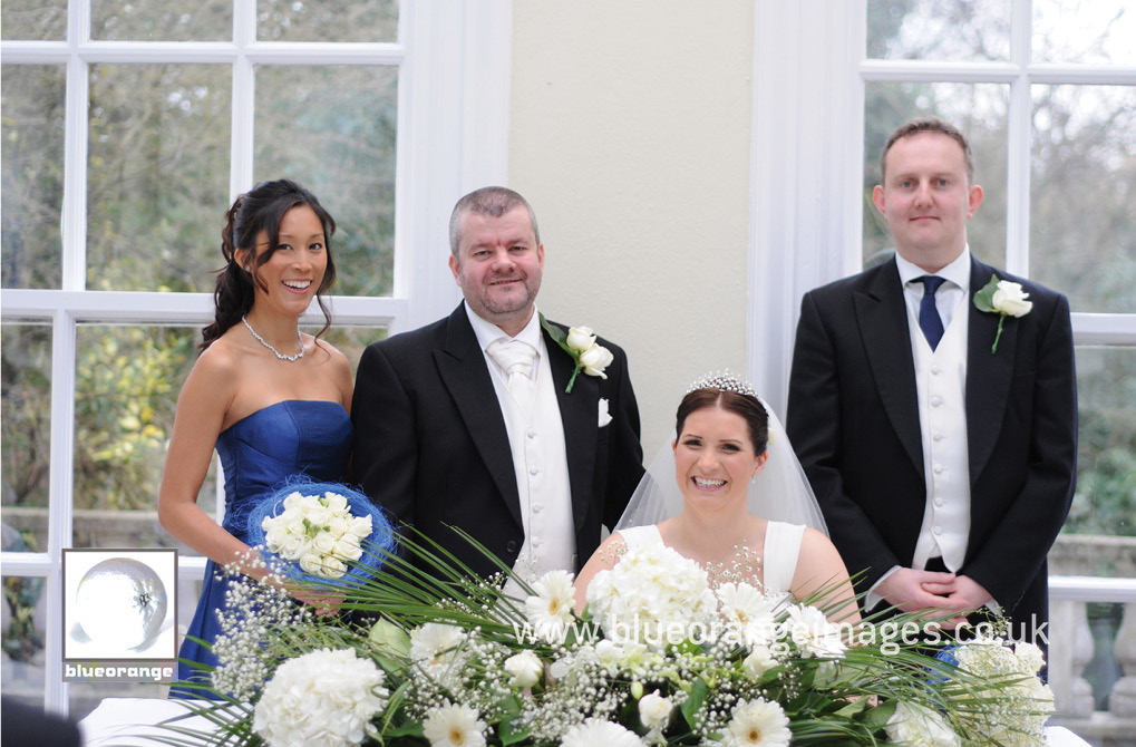 Hunton Park wedding – in The Orangery, the bride, the groom, the bridesmaid and the bestman