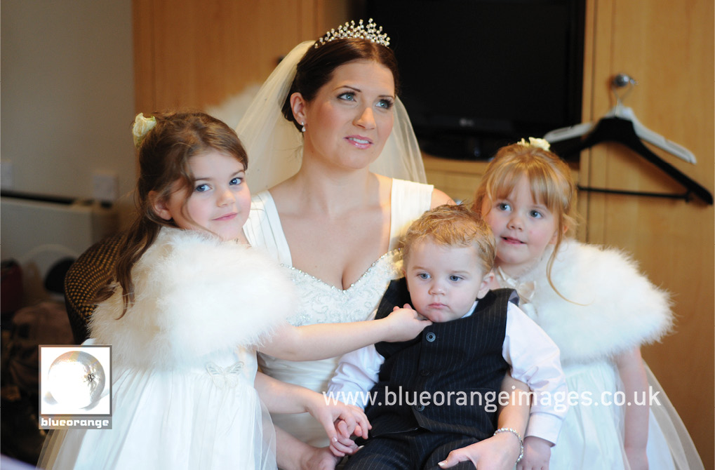 Hunton Park wedding venue, bride and children getting ready