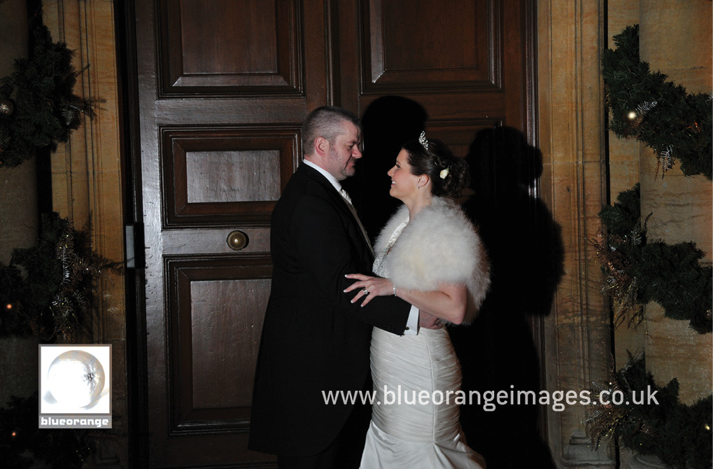 Wedding at Hunton Park venue – bride and groom, evening photos, at front door