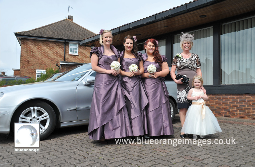Bridesmaids, mother of the bride and flower girl, before the wedding atWoodside Community Church of the Nazarene (The Brow, Watford, WD25 7NY)