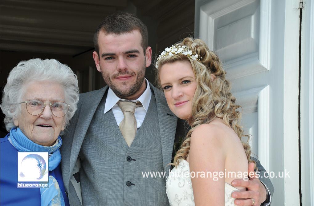 The bride, groom & granny –Watford Boys' Grammar School