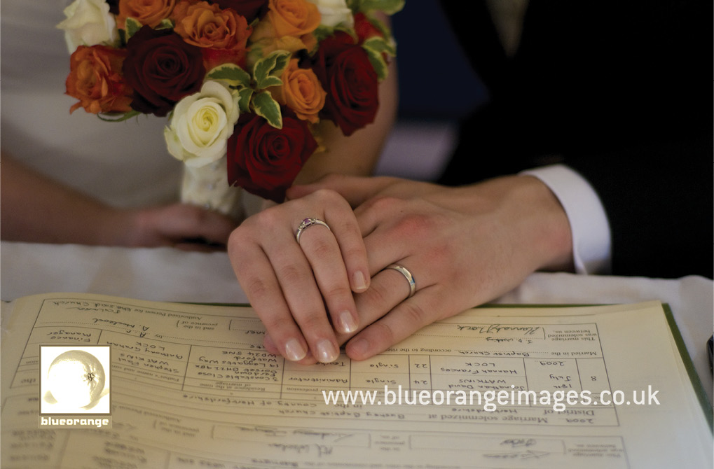 Signing the register and the wedding ring shot