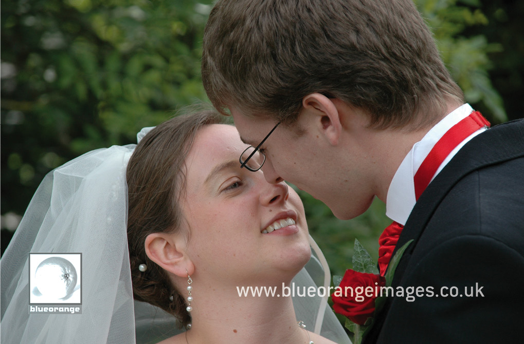 Hannah and John, the bride and groom, at the gardens near the Welwyn Garden City reception