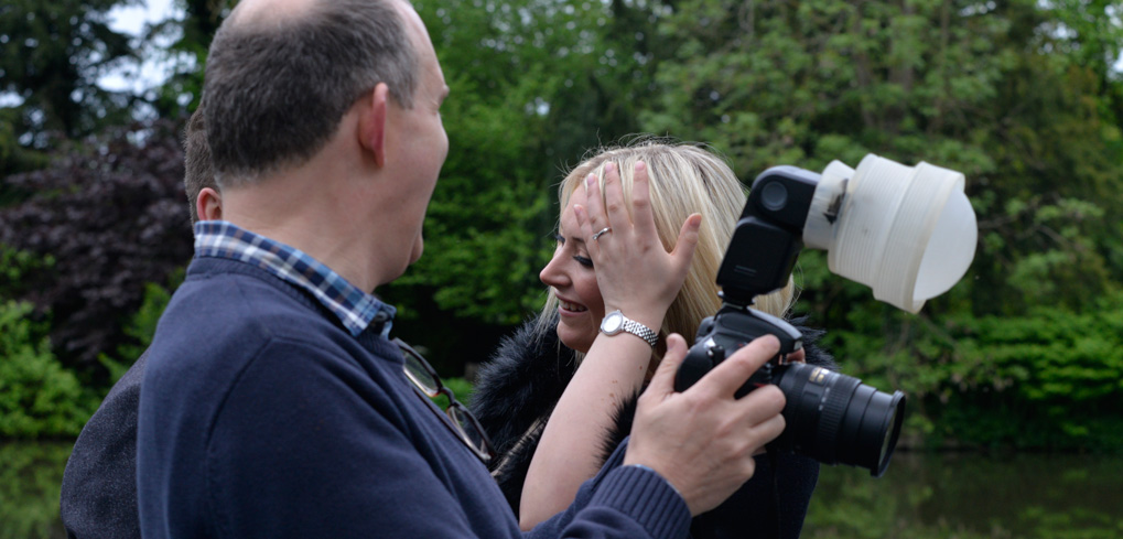 Blue Orange Images, John photographing on an engagement shoot at St Albans