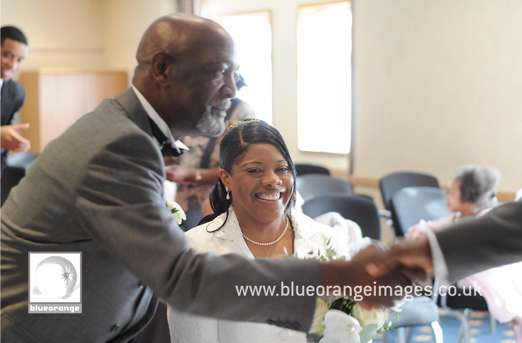 Thanking the pastor for the wedding blessing