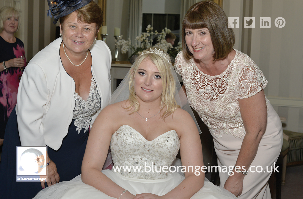 Bride with mother of the bride and mother of the groom, St Michael's Manor Hotel, St Albans, Herts