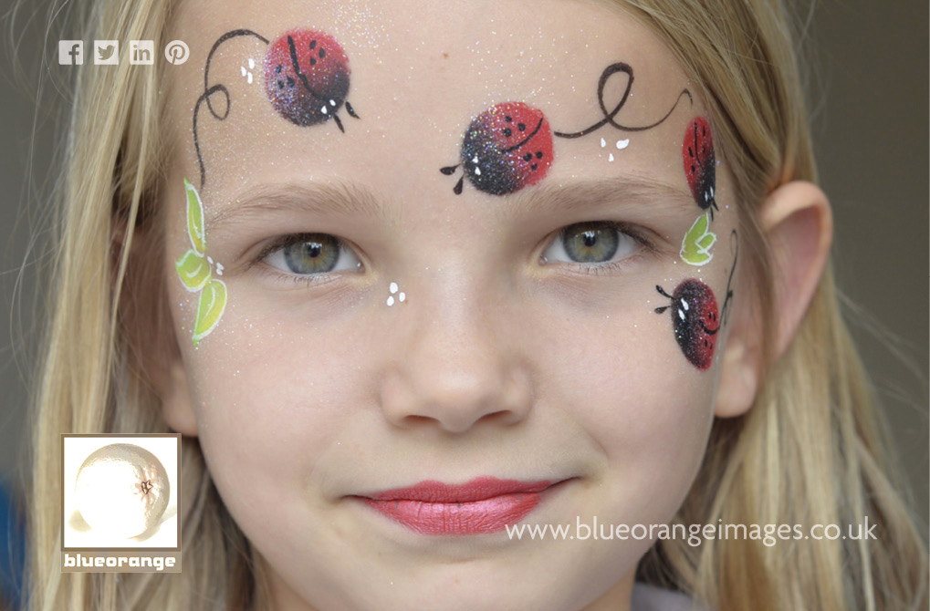 Ladybird face painting designs from Blue Orange Images Photographs, Watford